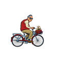 an old man with a gift riding a bicycle vector image