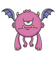 angry cyclops purple flying cartoon bat monster vector image vector image