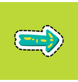 arrow dash line flat color sticker vector image