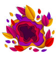autumn leaves beautiful design in paper cut style vector image vector image