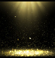background with golden confetti and rays of light vector image vector image