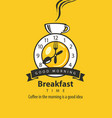 banner for breakfast with clock tableware and cup vector image vector image