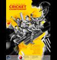 batsman and bowler playing cricket championship vector image vector image
