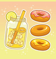 beverages with sweetmeats hand drawn set vector image