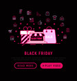 black friday sale concept with thin line icons vector image