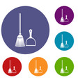 broom and dustpan icons set vector image vector image
