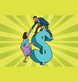 business team scrambles on the dollar vector image
