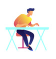 businessman working at the desk vector image