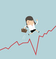 businesswoman jumps over the gap in growth chart vector image vector image