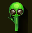 cartoon character funny alien isolated on grey vector image vector image