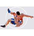 cartoons by two men sparring wrestling vector image