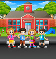 children standing on the street vector image vector image