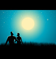 couple sitting on grass watching the full moon vector image vector image