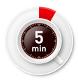 cup of coffee with time limit for break five vector image vector image