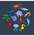 Cute hand drawn cartoon ocean animals vector image vector image