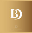 d and b monogram logo gold letter drop vector image vector image