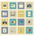 Electrical appliances flat icons set vector image