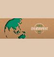 environment day banner green cutout earth map vector image vector image