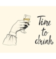 Female hand raises a glass of champagne vector image vector image