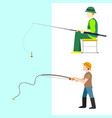 fishing fishermen catches fish fisher threw vector image