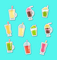 flat smoothie elements stickers set vector image vector image