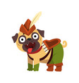 funny pug dog character dressed as robin hood vector image