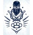 gang brutal criminal emblem or logo vector image vector image