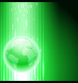 green background with binary code to the globe vector image vector image