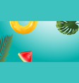 green palm leaf branches and other beach elements vector image