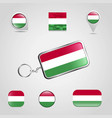 hungary country flag on keychain and map pin vector image vector image