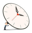 man holding big clock vector image vector image
