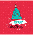 merry christmas red holiday pine tree cartoon vector image