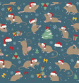 mice christmas seamless pattern mouse poses and vector image vector image