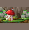 mushroom house in nature vector image
