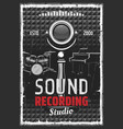 music instruments and sound recording studio vector image