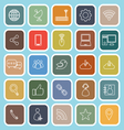Network line flat icons on blue background vector image
