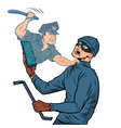online security a police officer detains a thief vector image vector image