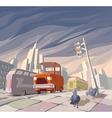 Orange Cartoon Retro Car vector image