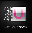 pink letter u logo symbol in the silver square vector image