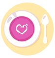 Pink love soup isolated on orange background vector image vector image