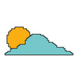 pixelated cloud and sun weather day vector image