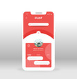 red chat ui ux gui screen for mobile apps design vector image vector image