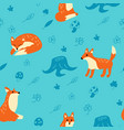 seamless fox pattern in forest vector image vector image