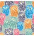 Seamless pattern with doodle owl cute bird of the vector image
