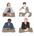 set business people sitting vector image vector image