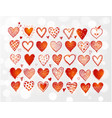set hand drawn red doodle sketch hearts on vector image vector image