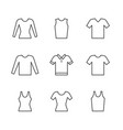set line icons of t-shirt singlet long sleeve vector image vector image