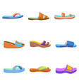 set of colorful women slippers vector image vector image