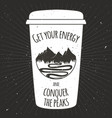 vintage cup coffee to go mountains vector image