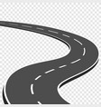 winding curved road with markings highway going vector image